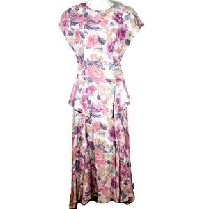 Vintage 90s Carole Little Floral Flowy Dress